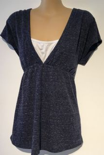 GEORGE NAVY BLUE MATERNITY/NURSING SHORT SLEEVE TOP SIZE 12
